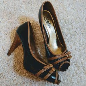 Candies black and tan peep toe heels 8